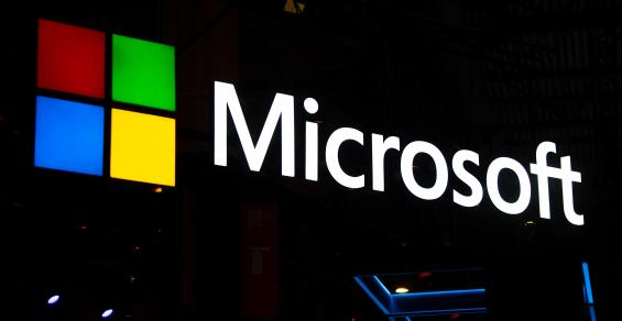 Microsoft logo lit up as a sign at Mobile World Congress