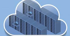 Data servers in cloud icon
