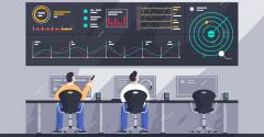 Illustration of employees with screens with charts at control center