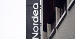 A Nordea Bank sign hangs on an office building