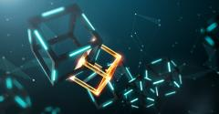Image shows blockchain technology with abstract background.