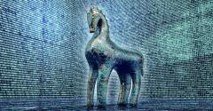 computer safety concept, trojan horse in electronic environment