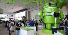 The Android mascot is on display in Moscone West, San Francisco