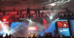 A stage lit up for Red Hat conference