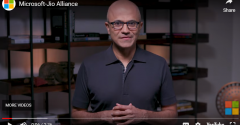 Microsoft CEO Satya Nadella comments on the new cloud partnership with Reliance Jio in a YouTube video.