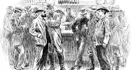 """Cowboys at a bar in a wild west saloon from the historic pre-1900 book """"The English Illustrated Magazine 1891-1892."""""""