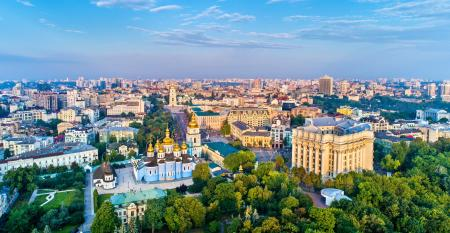 Kiev, Ukraine: Aerial panorama of St. Michael Golden-Domed Monastery, Ministry of Foreign Affairs and Saint Sophia Cathedral