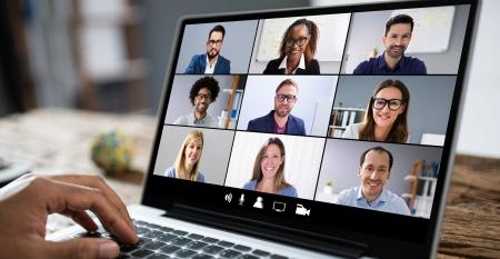 Laptop running online conferencing session