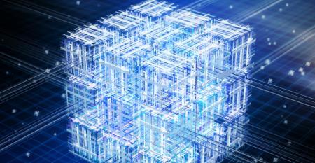 Conceptual illustration of quantum computing showing cubes of data