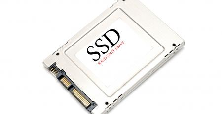Back of SSD Drive on white background