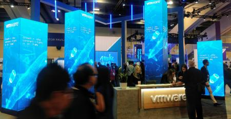 The VMware area on the expo floor at VMworld 2019