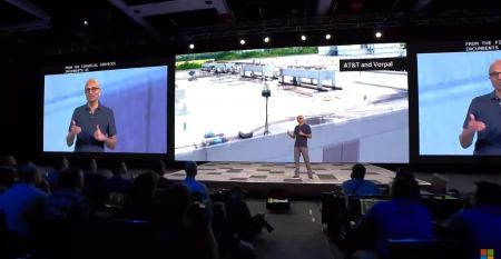 Microsoft CEO Satya Nadella showing a drone camera view of Vorpal's portable detection equipment at Build 2019.