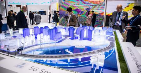 China Mobile's smart city display at Mobile World Congress 2019 in Barcelona