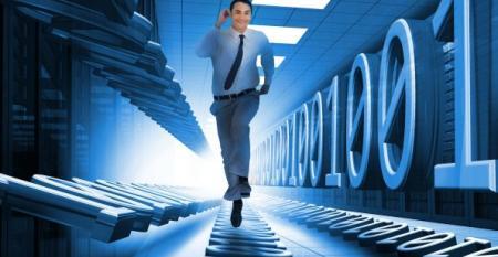 man sprinting through datacenter