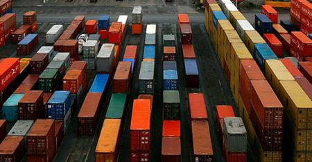 A field of cargo shipping containers