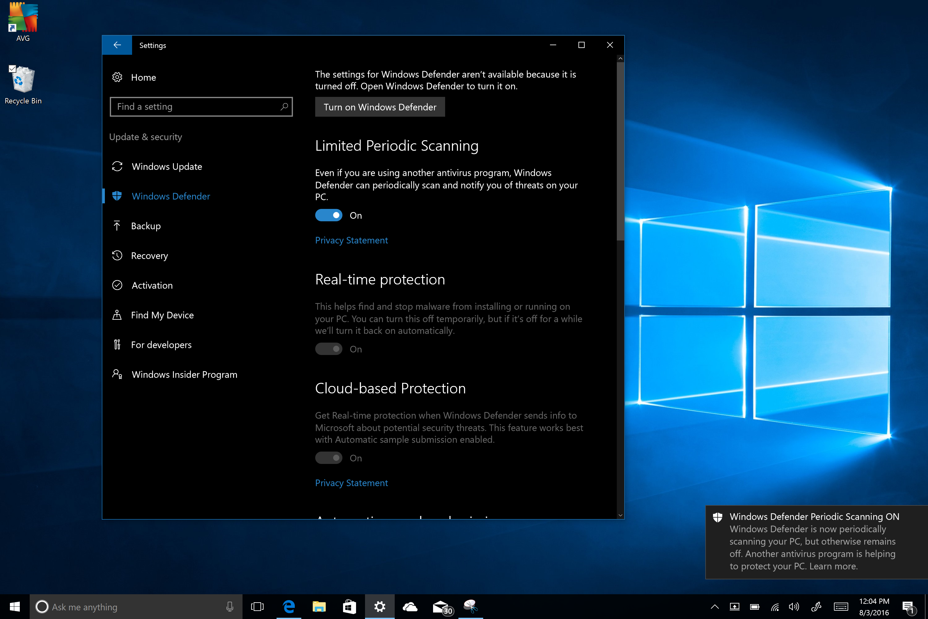 windows defender for windows 10 not updating