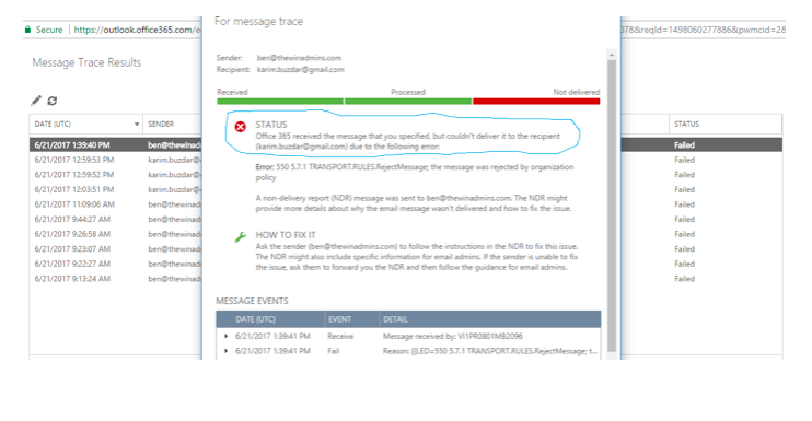 How To Track Email Messages With Message Trace In Exchange Online Office 365