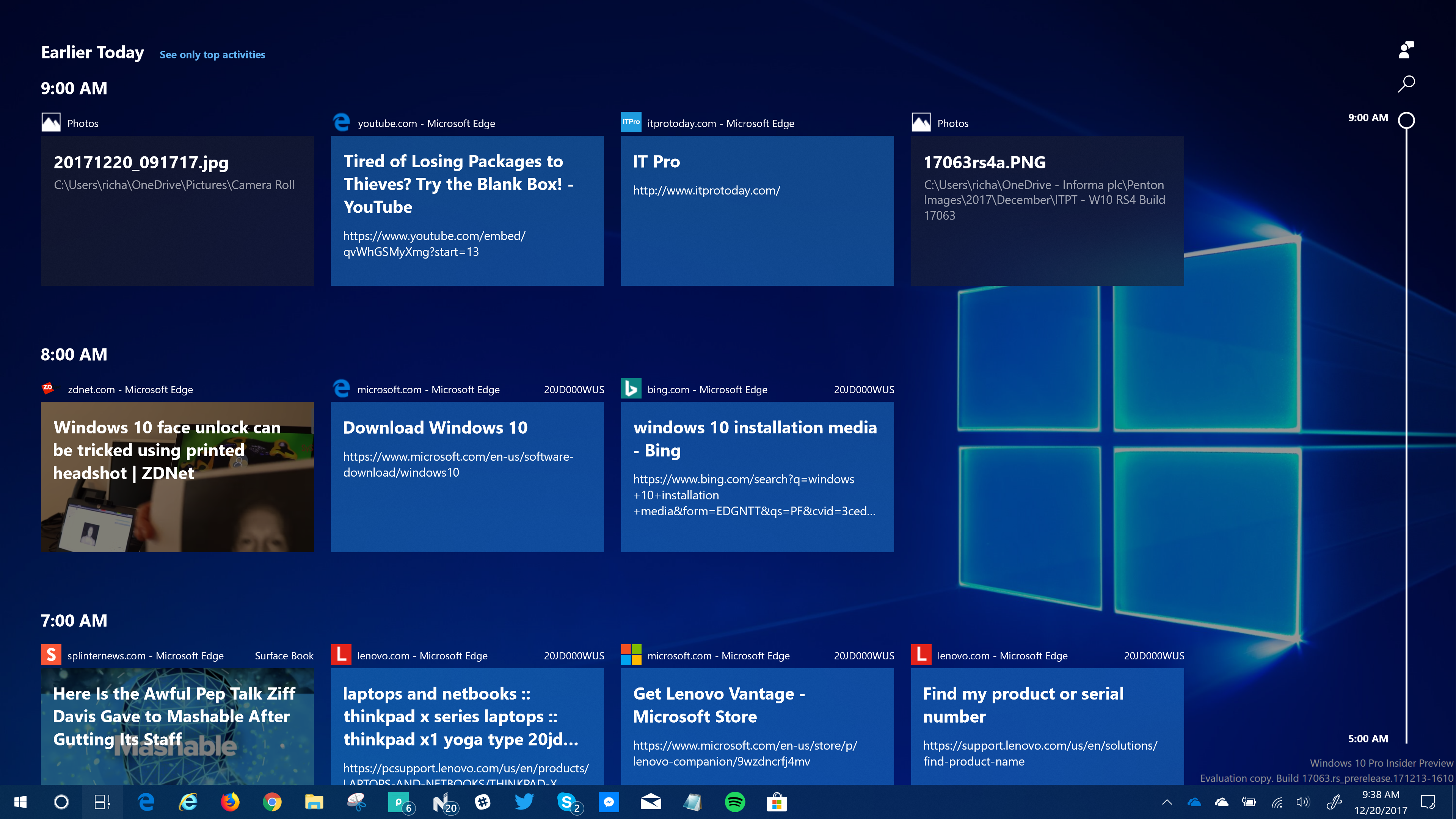 windows insiders now testing timeline for windows feature in rs4