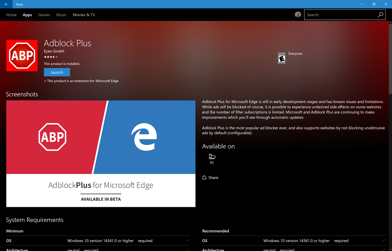 Screenshot: Adblock Plus 0.9.9.0 - Microsoft Edge