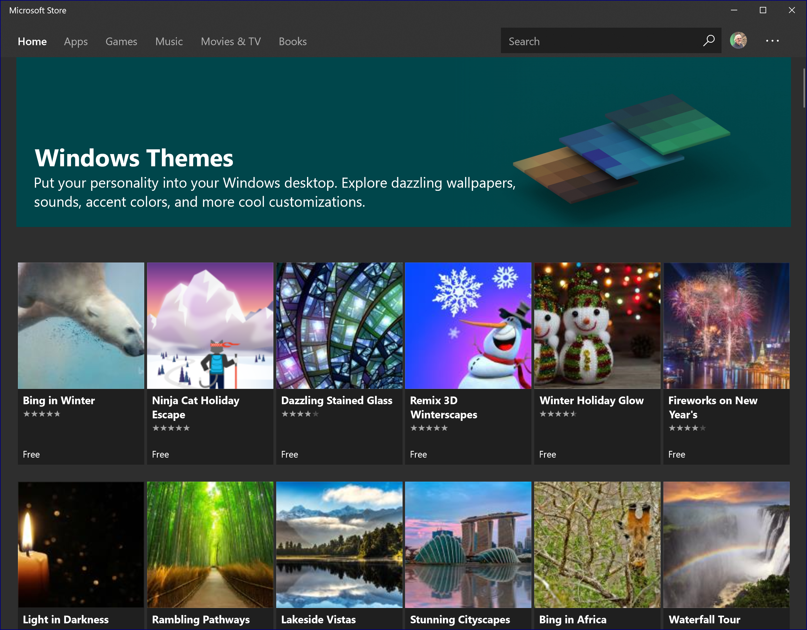 if you want to easily change things up without a lot of work go to the themes page in the microsoft store and check out the more than 230 windows themes