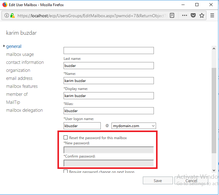 How to Reset Password of User Mailbox from Exchange Admin
