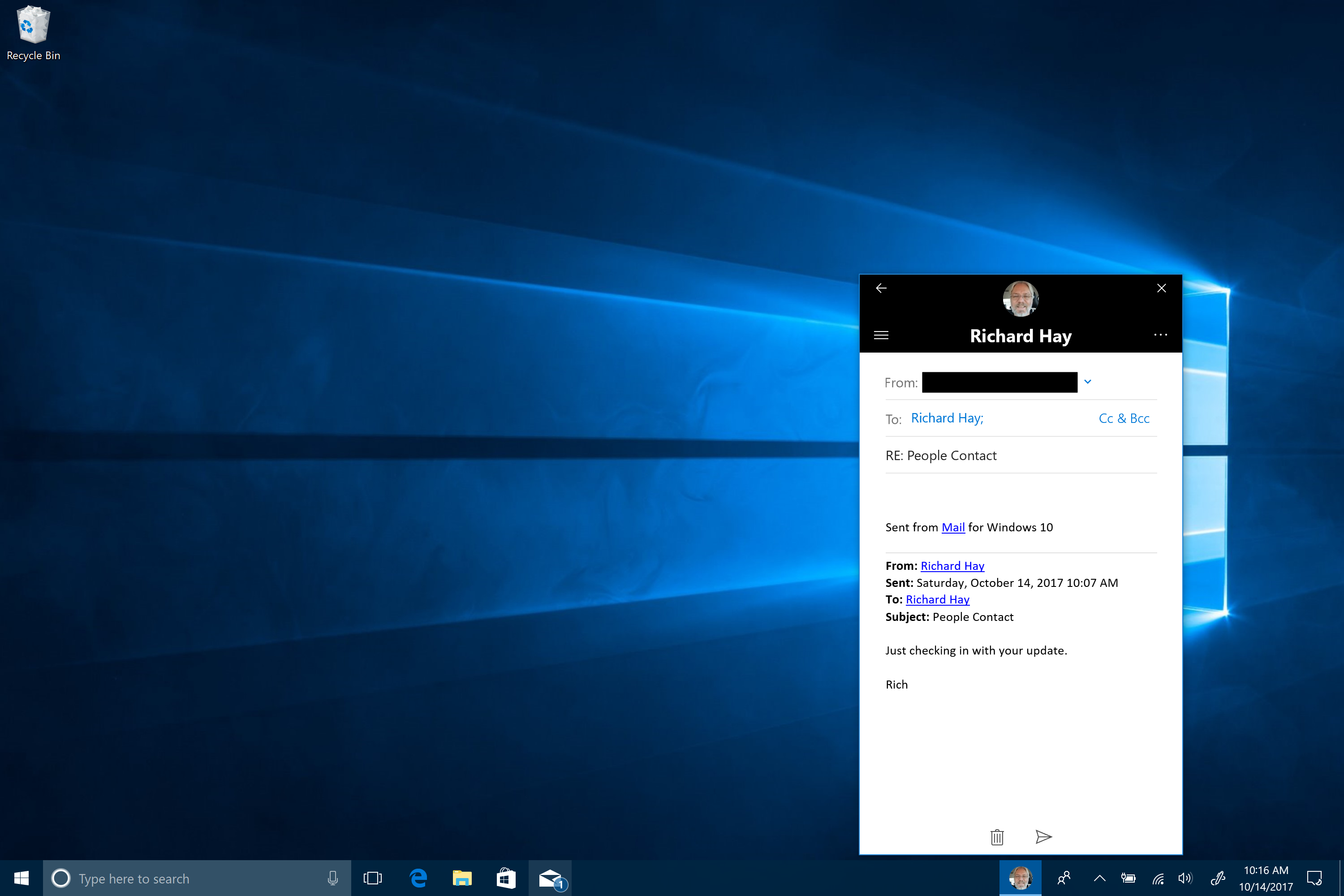 Replying to an e-mail from the taskbar