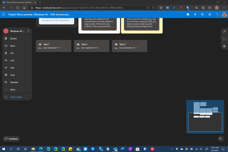 canevas déroulant moca de projet Microsoft