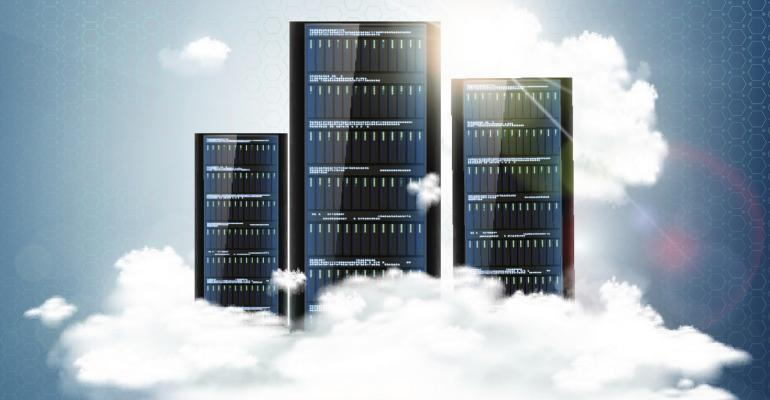 Concept art of racked servers sitting on clouds
