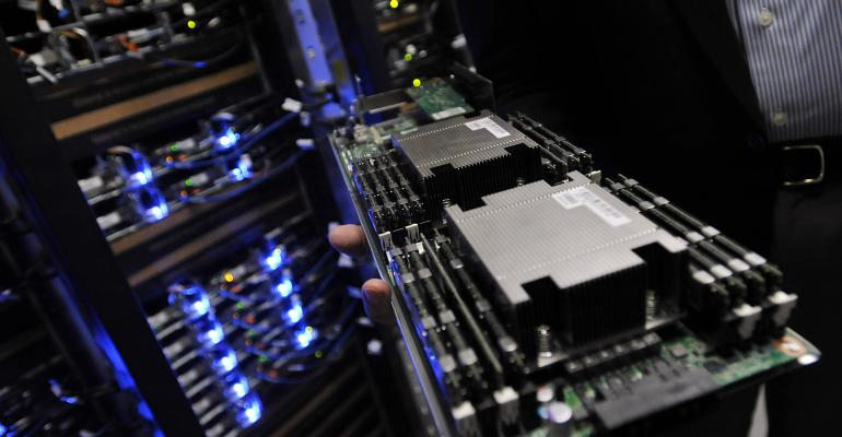 A server tray in Facebook's Forest City, North Carolina, data center, 2010