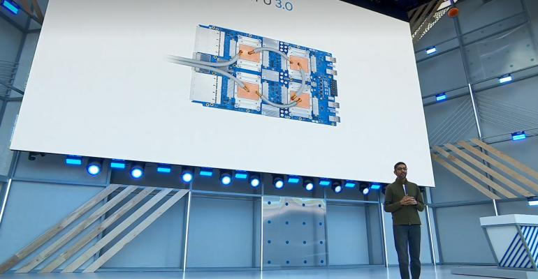 Alphabet CEO Sundar Pichai speaking at Google I/O 2018