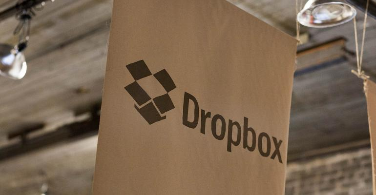 Dropbox Inc. signage is displayed at the Brooklyn Beta conference in the Brooklyn borough of New York, U.S., on Friday, Oct. 12, 2012.  Photographer: Mark Ovaska/Bloomberg