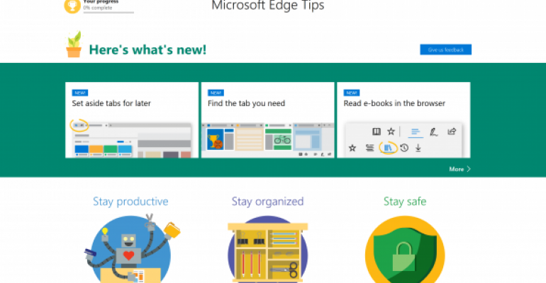 Microsoft Edge Welcome Screen