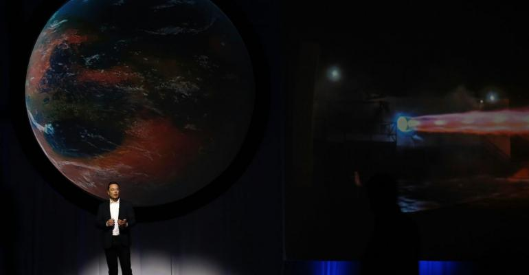 Elon Musk, chief executive officer for Space Exploration Technologies Corp. (SpaceX), speaks during the 67th International Astronautical Congress (IAC) in Guadalajara, Mexico, on Tuesday, Sept. 27, 2016. Photographer: Susana Gonzalez/Bloomberg
