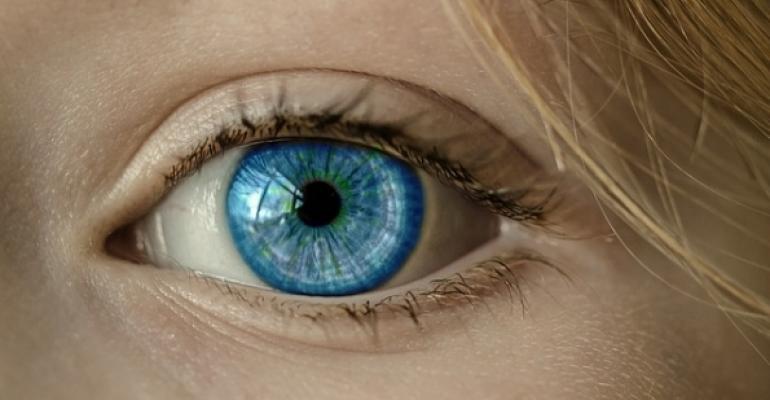 Woman's blue eye closeup