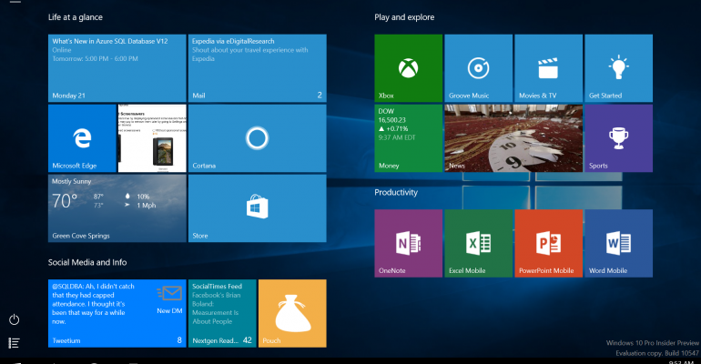 Hands on with Windows 10 Build 10547