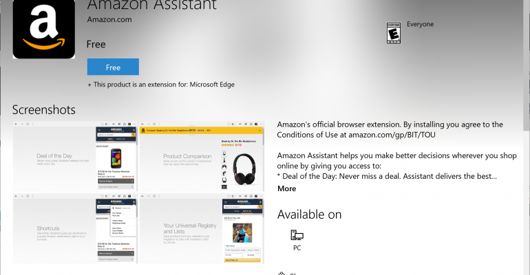 Hands On - Official Amazon Assistant Extension for Microsoft Edge