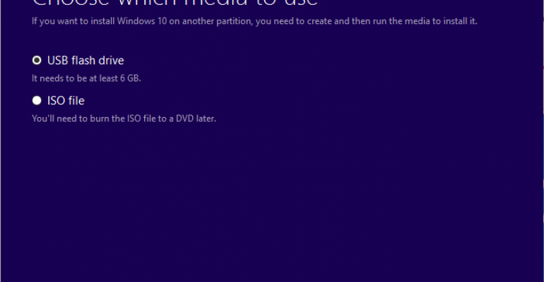 Windows 10 - Create install media or download ISO from Microsoft