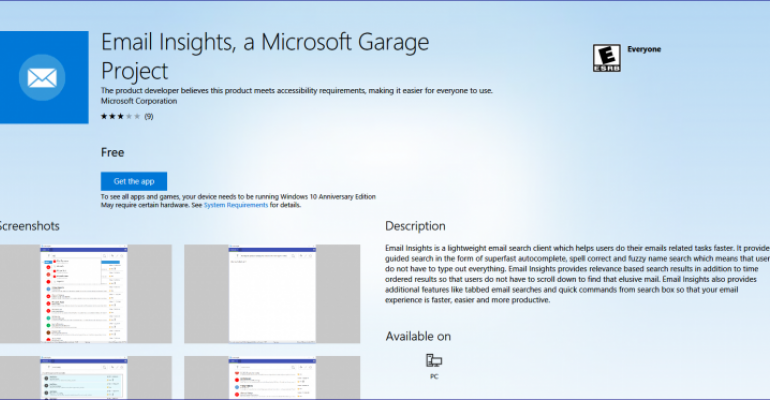 Microsoft Garage Releases Email Insights Search App for Outlook and Gmail Accounts