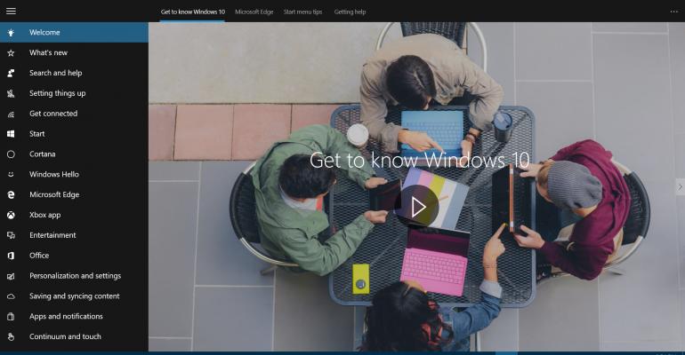 Windows 10 Get Started App Gallery