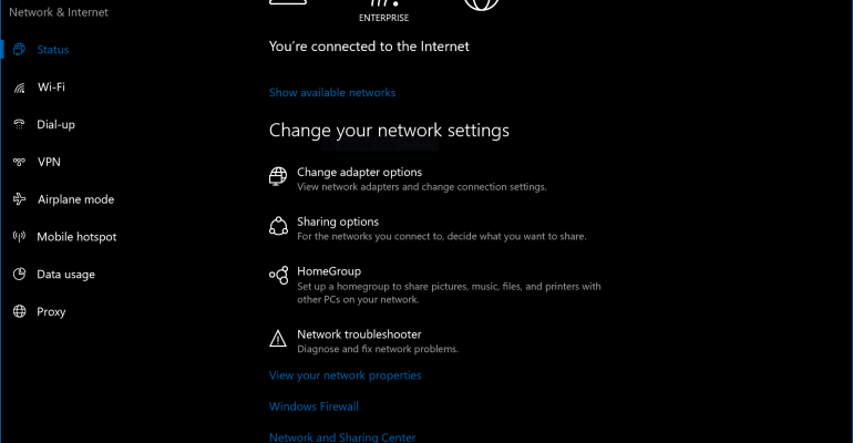 Hands On with the Windows 10 Networking Status Page