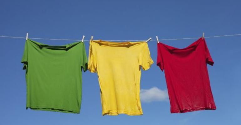 tshirts on a string clothesline