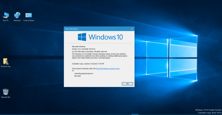 Windows 10 Build 10576 Hands On and Gallery