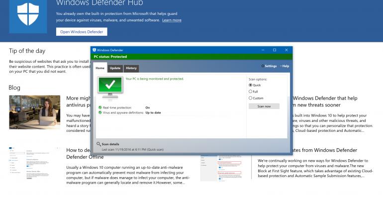 Microsoft Releases the Windows Defender Hub App