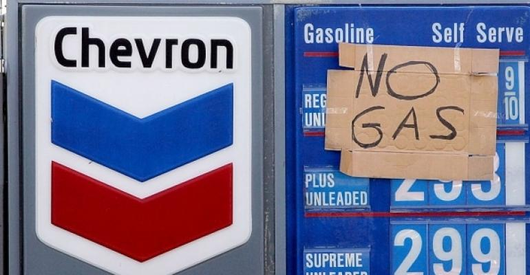 Chevron gas pump with no gas sign