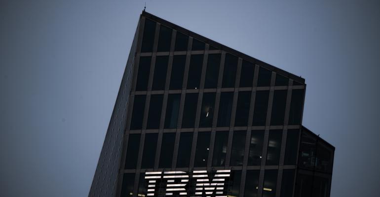 IBM corporate tower at night