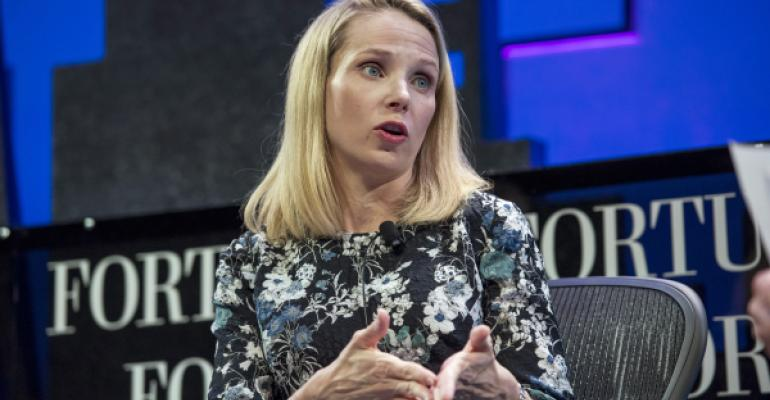 Yahoo CEO Marissa Meyer, seen here addressing a corporate event