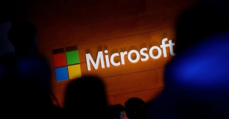 Microsoft logo with spotlight