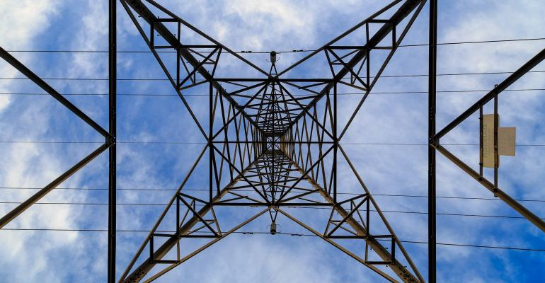 Pylons in an electrical tower