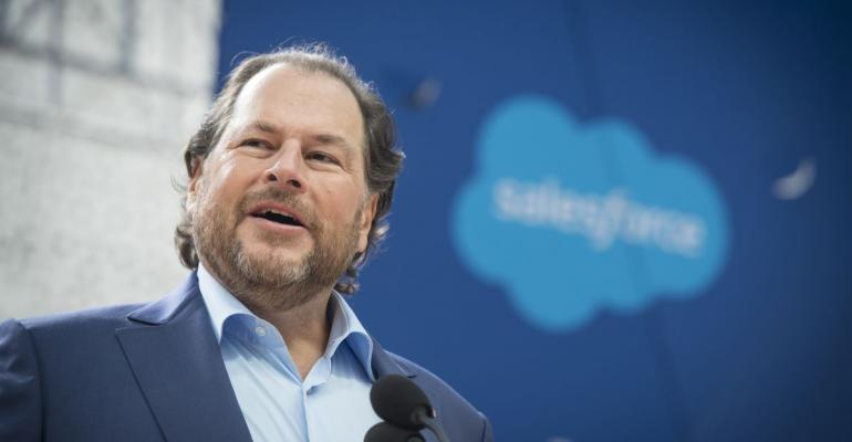 Marc Benioff, chairman and chief executive officer of Salesforce.com Inc., speaks during the grand opening ceremonies for the Salesforce Tower in San Francisco, California, U.S., on Tuesday, May 22, 2018.  Photographer: David Paul Morris/Bloomberg