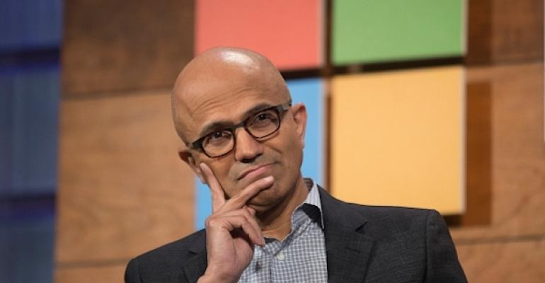 Satya Nadella in a thoughtful pose